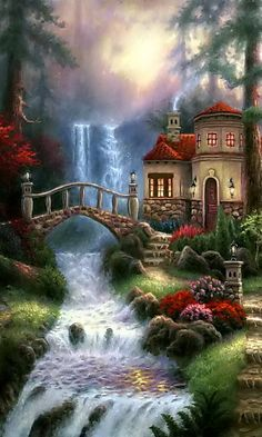 Sierra River Falls Art Painting for sale. Shop your favorite Chuck Pinson Sierra River Falls Art Painting without breaking your banks. Beautiful Paintings, Beautiful Landscapes, Thomas Kinkade Art, Kinkade Paintings, Cottage Art, Les Cascades, Nature Animals, Nature Wallpaper, Nature Pictures