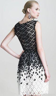 Black and White Sleeveless Leaf Lace Dress