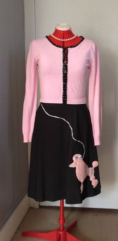 Upcycled 1950's Poodle Skirt Costume skirt  Buddy Holly