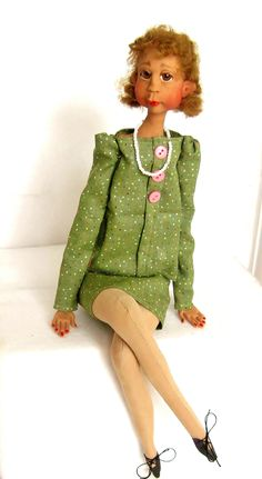 Ooak African American Art Doll in Pink and Green