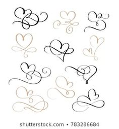 set of flourish calligraphy vintage hearts. Illustration vector hand drawn EPS 10 - Buy this stock vector and explore similar vectors at Adobe Stock Calligraphy Heart, Flourish Calligraphy, Hand Lettering Alphabet, Monogram Alphabet, Heart Doodle, Infinity Tattoos, Heart Illustration, Heart Tattoo Designs, Tattoos For Daughters