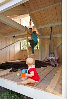 I want a micro version of this: Anna and Eugeni Bach, Wood Playhouse with Finnish construction, children playing, Remodelista