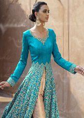 Buy Blue Bhagalpuri Designer Anarkali Suit 67963 online at lowest price from huge collection of salwar kameez at Indianclothstore.com.