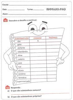 Atividades de substantivos para imprimir