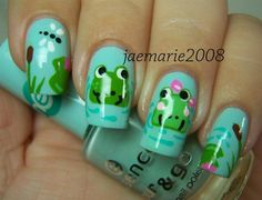 Meet Me At The Pond-Frog Nail Design - Nail Art Gallery by NAILS Magazine