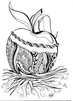 Coloring Pages Adult Colouring Food Art Therapy Zentangles Apples Doodles Drinks