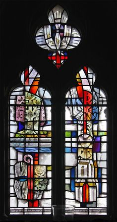 Brother James' Air, Otterburn Stained glass window in the parish church of St. John the Evangelist, Otterburn, Northumberland. Stained Glass Church, Modern Stained Glass, Stained Glass Angel, Faux Stained Glass, Mosaic Windows, Leaded Glass Windows, Medieval, Palette, Sculpture Art