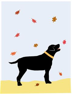 Black or Yellow Lab in Autumn Original Illustration matted in 11 x 14 inch white mat My favorite, handprinted by me on ultra premium matte photo paper Image is @8 x 10 inches in a white mat 11 x 14