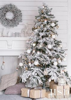 Christmas Tree Fireplace Photography Backdrop Christmas Photo Props Hsd Photography Happy New Year Christmas Tree And Fireplace, Christmas Mantels, Christmas Home, Christmas Wreaths, Snowy Christmas Tree, Christmas Ideas, Modern Christmas, Flocked Christmas Trees Decorated, Christmas Tree Presents
