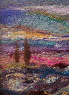 5 x 7 design size on felt All art content © Deebs Fiber Arts Thread Painting, Fabric Painting, Fabric Art, Felt Wall Hanging, Felt Pictures, Needle Felting Tutorials, Textiles, Textile Fiber Art, Vintage Crafts