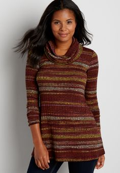 wide ribbed cowl neck pullover with stripes and peek-a-boo back (original price, $34.00) available at #Maurices