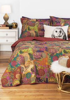 Dream Tree House Quilt Set in Full/Queen. Turn a beige boudoir into a kaleidoscopic paradise with this colorfully printed quilt set! #multi #wedding #modcloth