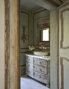 Repurposed antiques in the bathroom . . . design by Ohara Davies-Gaetano