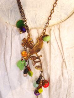 Bird pendant with blossom handmade rustic by TheEnglishEclectic, $79.00
