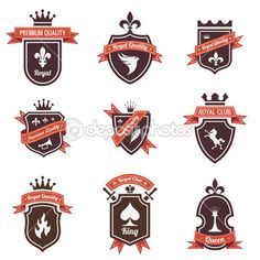 Vintage Labels set. Place your logo on shield. Copyspace. Shield with ribbon and crown. Coat of arms. Retro design. High quality. — Stock Vector #26500339