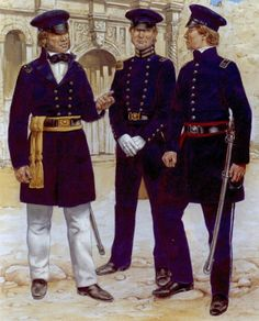 Army of Texas officers, L to R - Colonel William Gordon Cooke, ordnance officer and captain of infantry. Mexican American War, American Civil War, American History, Us Army Uniforms, American Uniform, Native American Models, Texas Revolution, Military Insignia, Us History