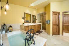 This Vail, CO residence includes an expansive Master Bath with in floor radiant heat and walk-in closet to complete the Master Suite. #vailrealestate #vailliving #vailproperties