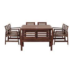 IKEA - ÄPPLARÖ, Ulkokalustesetti (pt/6 nojat/pnk), Pöytälevyn keskellä reikä auringonvarjoa varten.Istuintyynyn tai -pehmusteen avulla tuolista on helppo tehdä entistä mukavampi ja oman maun mukainen.Kestävyyden lisäämiseksi ja puun luonnollisen ilmeen korostamiseksi kaluste on esikäsitelty läpikuultavalla petsillä.