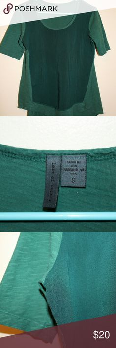 Anthropologie/Left of Center - Two Toned Green Top Left of Center - Darker green is a linen type fabric while lighter green is a more knit fabric, both soft and comfy Anthropologie Tops