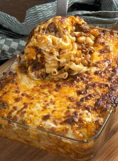 Cheesy Macaroni and beef. If it was 12 a.m right now i would make it!! YUM-MY!