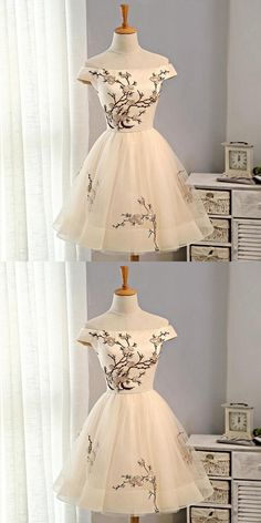 Pretty Off Shoulder Straight Neckline Embroidery Tulle Short Homecoming Dresses, Affordable Short Homecoming Dresses, - Homecoming Dresses Homecoming Dresses Sleeves, Hoco Dresses, Junior Dresses, Evening Dresses, Formal Dresses, Vintage Homecoming Dresses, Sweet 16 Dresses, Pretty Dresses, Beautiful Dresses