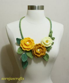 Lovely Crochet MultiColor Rose Garden Necklace by SornjasCrafts, $25.00