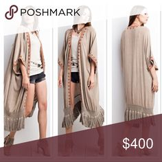 ✨NEW THIS WEEK✨OPEN CARDIGAN ✨NEW✨  Perfect transition into Fall piece!   DOLMAN SLEEVES FEATURING AN EMBROIDERED EDGE DESIGN WITH EFFORTLESSLY FLOWING FRINGE ALONG THE TRIM. WASHED OPEN CARDIGAN   💝No Trades. Sweaters Cardigans