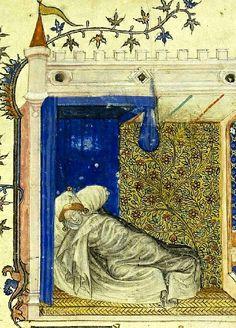 Guillaume de Lorris, Jean de Meun (Meung)  TitleLe Roman de la RoseYear of publication  1390 Roman, Long Pillow, 14th Century, Medieval, Pillows, Bed, Painting, Stream Bed, Cushion
