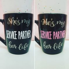 His & Hers coffee/tea mugs, perfect for yourself and your spouse... as well as for gifting to that special couple who enjoys serving Jehovah together :)  This listing is for a set of 2 mugs with font A (see our other listings for font B)  -Shes(Hes) my/for life *SILVER*  -Service Partner *PINK&WHITE*  -12oz black mug  -Stoneware mug  -Hand wash for longer lasting design  -Durable Vinyl design  -Black MUG As pictured  -Colors may be slightly off.  -Designs automatically done ...