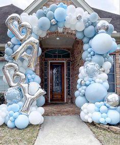 Balloon Display, Balloon Arch, Balloon Garland, Balloon Ideas, Ballon Decorations, Birthday Decorations, Pop Baby Showers, Blue Balloons, Wedding Balloons