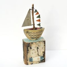 Little Boat Sculpture - Driftwood Art - CoastalHome.co.uk: Driftwood