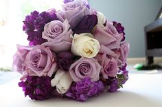 Purple hydrangea and rose wedding bouquet Purple Hydrangea Wedding, Purple Flowers, Floral Wedding, Fall Wedding, Dream Wedding, Blue Hydrangea, Dark Purple Wedding, Wedding Ideas, Purple Wedding Bouquets