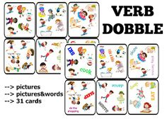 dobble, funglish, game, spot it, vocabulary, verbs, czasowniki, gra, actions, czynności