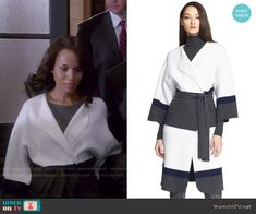 Olivia's black and white colorblock coat on Scandal.  Outfit Details: http://wornontv.net/52880/ #Scandal