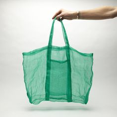 Souvenir 094 fishing net bag / Green / Sheer / See through transparency /