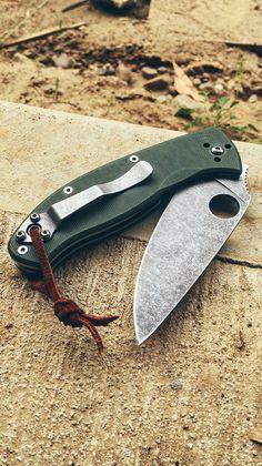 Spyderco Tenacious Stonewashed Acid Washed EDC Folding Knife Custom