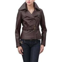 Jessie G. Women's Belted Safari Lambskin Leather Jacket - Espresso