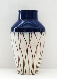 Carstens Mid Century XL Blue Cream & Brown Striped West German Floor Vase