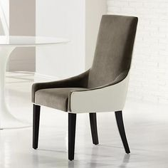 Two-tone upholstery in Portsmouth grey and ivory paired with subtly curved arms and back legs in rich espresso gives this stunning dining chair its sleek and chic appeal. Style # at Lamps Plus. Dining Room Banquette, Dining Chairs, Home Furniture, Furniture Design, Furniture Ideas, Furniture Inspiration, Sofa Chair, Chair Design, Portsmouth