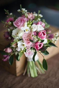 Pink, Green and White Bridal Bouquet with Roses and Tulips