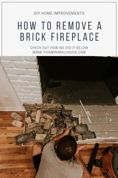 REMOVING OUR FIREPLACE'S BRICK HEARTH Brick Hearth, Fireplace Hearth, Fireplace Inserts, Fireplaces, Scrap Wood Crafts, Front Stairs, Diy Porch, Old Bricks, Diy Desk