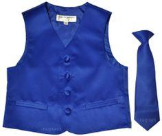 New kids boy's tuxedo vest waistcoat with necktie wedding 4T-14 royal blue