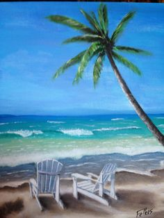 Painting Furniture With Beach Scenes Scene Palm Trees Umbrella And Chair Mural Art Photos Pinterest