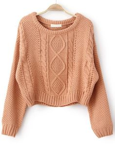 Pull-over tricoté en maille-Rose -sheinside