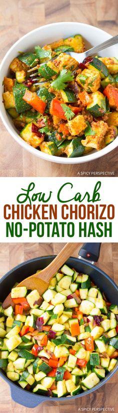 "Easy Low Carb Chicken Chorizo ""No Potato"" Hash <a class=""pintag"" href=""/explore/healthy/"" title=""#healthy explore Pinterest"">#healthy</a> <a class=""pintag"" href=""/explore/paleo/"" title=""#paleo explore Pinterest"">#paleo</a>"