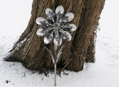Metal+Yard+Flowers | Spoon Flower Metal Sculpture Yard Art Garden Art Found Objects Flower ...