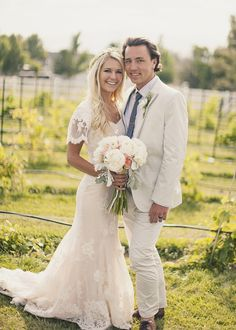Beautiful dress and cute decor ideas too....Bohemian Utah Wedding from Alixann Loosle Ruffled