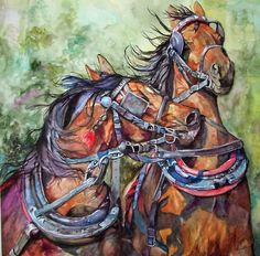 Horse watercolor Art  Print by Maure Bausch