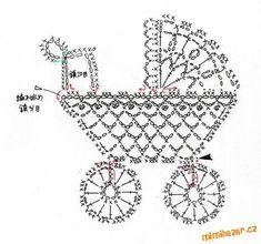 Crochet stroller chart pattern by Alex Mihaela Appliques Au Crochet, Crochet Motifs, Thread Crochet, Crochet Doilies, Crochet Flowers, Crochet Stitches, Crochet Patterns, Filet Crochet, Crochet Diagram