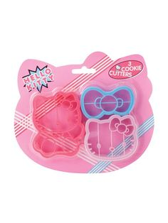 Hello Kitty Cookie Cutter - Set of 3  from susana:  The eyes are upside down choc chips, the nose is a Jelly Belly, the whiskers are black licorice. And each bow is one Dot or gumdrop: cut off small rounded top for bow center, cut the bottom part in half for the sides.